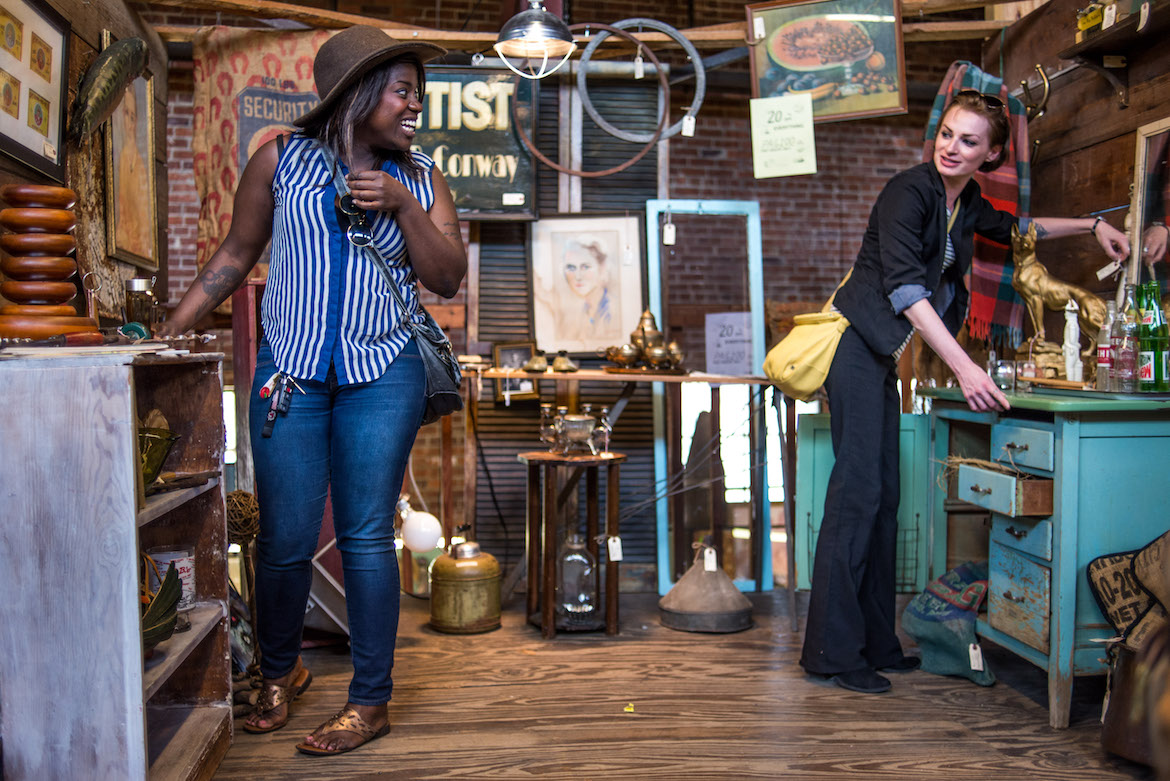 Singer Deborah Adedokun of Debbie and the Skanks shops antique malls in Columbia - Photo by Columbia SC photographer Sean Rayford