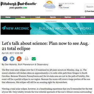 Pittsburgh Post-Gazette eclipse story Columbia SC