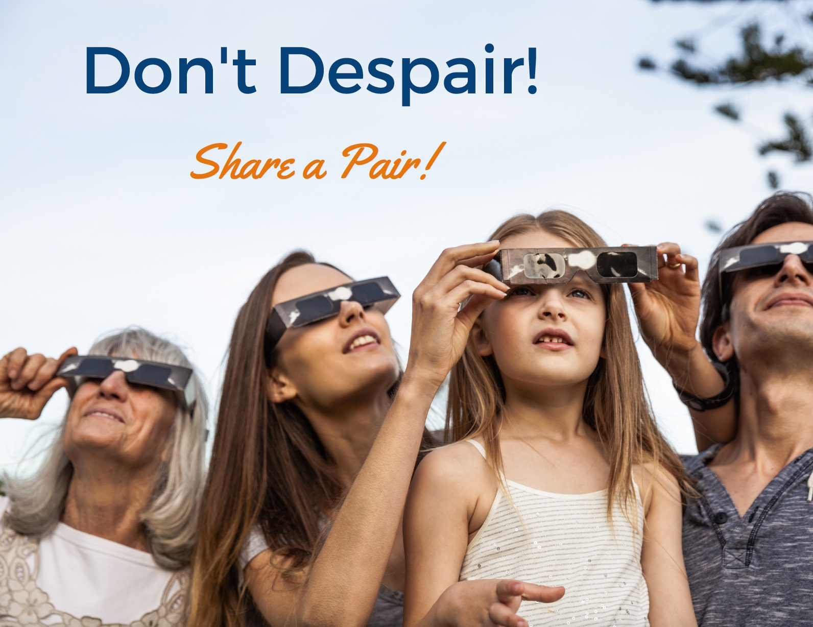 Share eclipse glasses to view partial eclipse